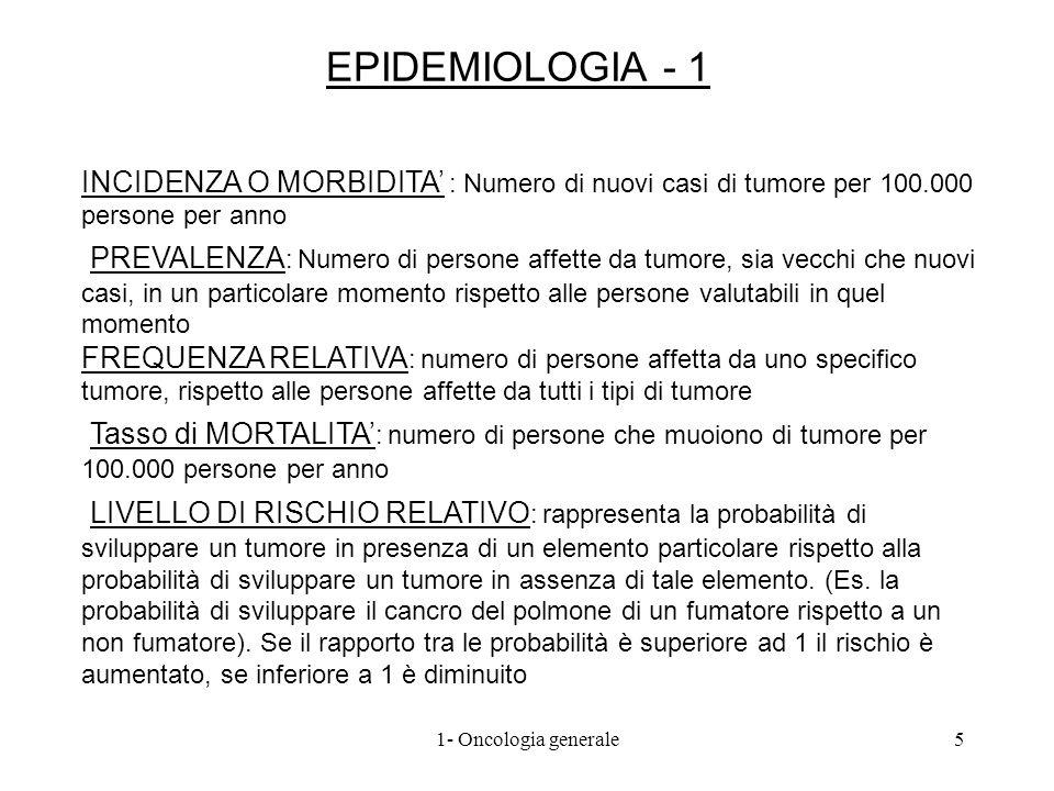 EPIDEMIOLOGIA - 1 INCIDENZA O MORBIDITA : Numero di nuovi casi di tumore per 100.000 persone per anno LIVELLO DI RISCHIO RELATIVO : rappresenta la pro