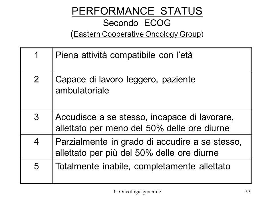 PERFORMANCE STATUS Secondo ECOG ( Eastern Cooperative Oncology Group) 1Piena attività compatibile con letà 2Capace di lavoro leggero, paziente ambulat