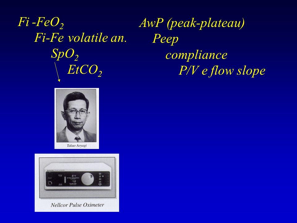 Fi -FeO 2 Fi-Fe volatile an. SpO 2 EtCO 2 AwP (peak-plateau) Peep compliance P/V e flow slope