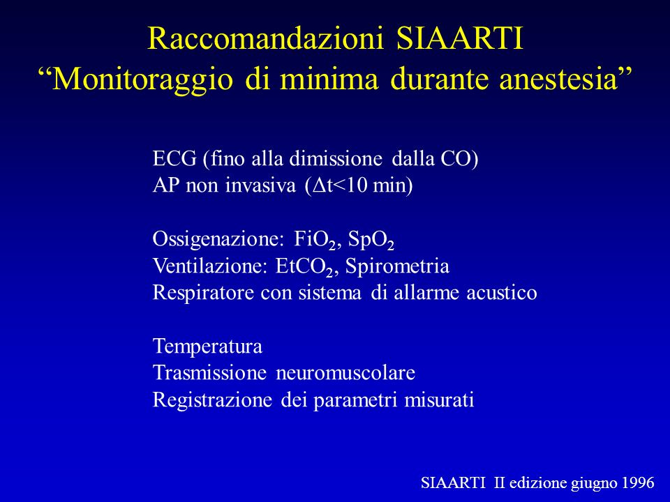 ASA standards for basic anesthetic monitoring 2001 Standard 1: Qualified anesthesia personnel shall be present in the room throughout the conduct of all general anesthetics, regional anesthetics and monitored anesthesia care Standard 2: During all anesthetics, the patient s oxygenation, ventilation, circulation, and temperature shall be continually evaluated