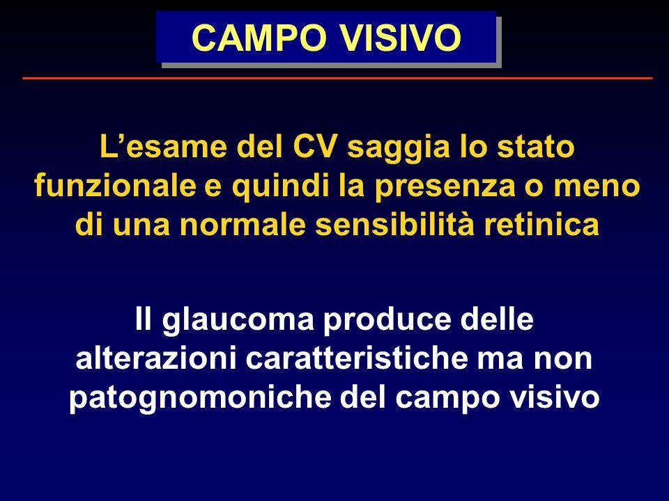 CAMPO VISIVO Lesame del CV saggia lo stato funzionale e quindi la presenza o meno di una normale sensibilità retinica Il glaucoma produce delle alterazioni caratteristiche ma non patognomoniche del campo visivo