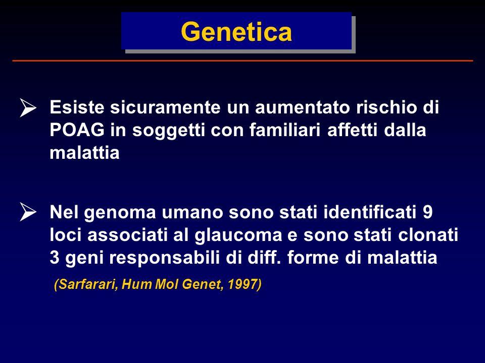 Genetica Esiste sicuramente un aumentato rischio di POAG in soggetti con familiari affetti dalla malattia Nel genoma umano sono stati identificati 9 loci associati al glaucoma e sono stati clonati 3 geni responsabili di diff.
