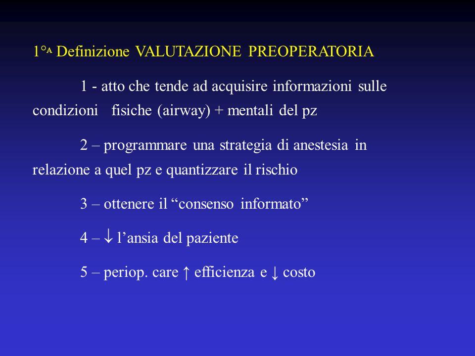 1° A Definizione VALUTAZIONE PREOPERATORIA 1 - atto che tende ad acquisire informazioni sulle condizioni fisiche (airway) + mentali del pz 2 – program