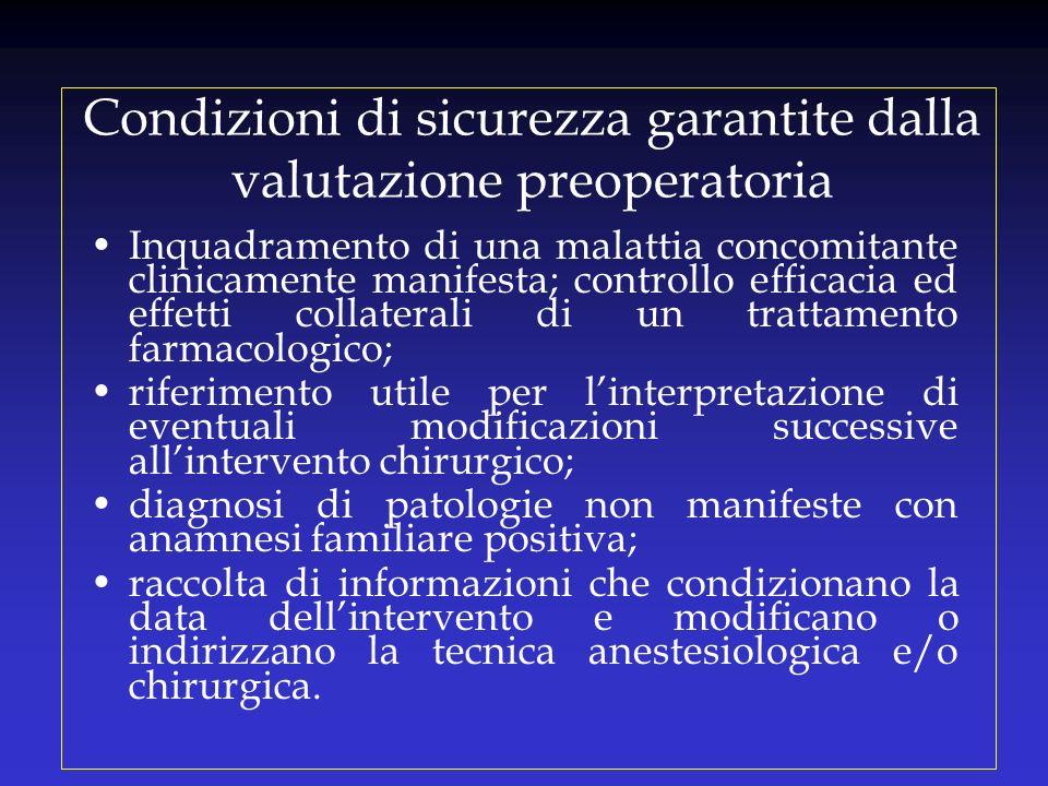 Condizioni di sicurezza garantite dalla valutazione preoperatoria Inquadramento di una malattia concomitante clinicamente manifesta; controllo efficac