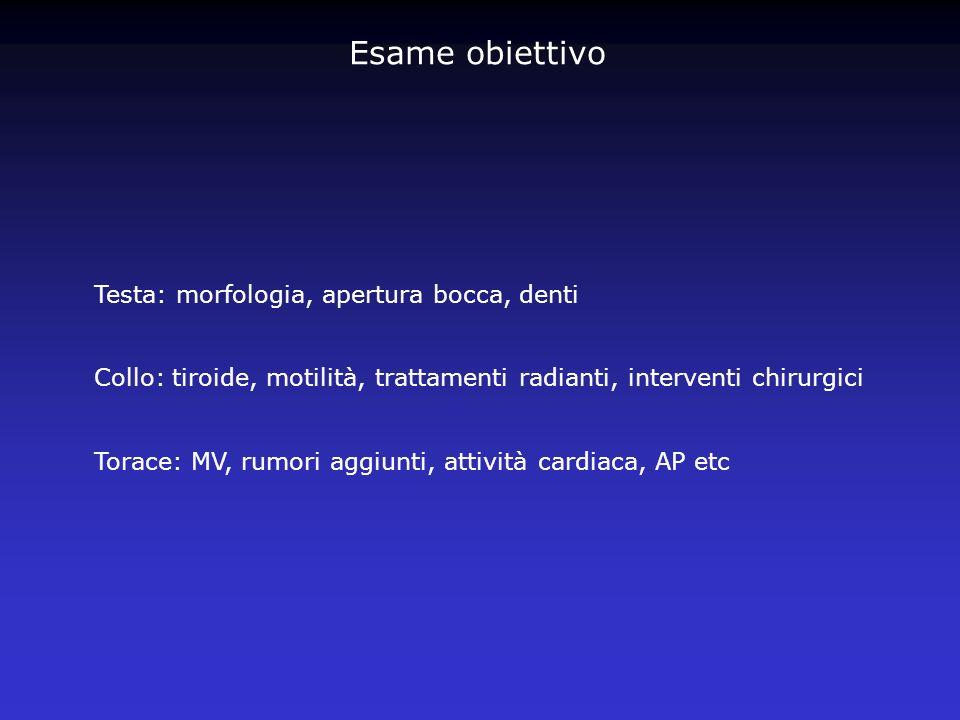 Linee guida per i test ematochimici (ASA-SIAARTI) Emocromo: pz con oltre 60 anni, donne in età fertile, bambini Glicemia: diabete, obesità, nefropatie, pz anziani(>60 anni), nei pz in classe ASA III, IV Creatinina: nefropatie, ipertensione arteriosa, pz anziani (>60 anni), nelle classi ASA III, IV Elettroliti urinari: nefropatie,ipertensione arteriosa, trattamento con farmaci diuretici o corticosteroidei Transaminasi: non giustificate come screening CK: non giustificate come screening PT,PTT: pz a rischio emorragico, uso frequente di aspirina o FANS Piastrine?