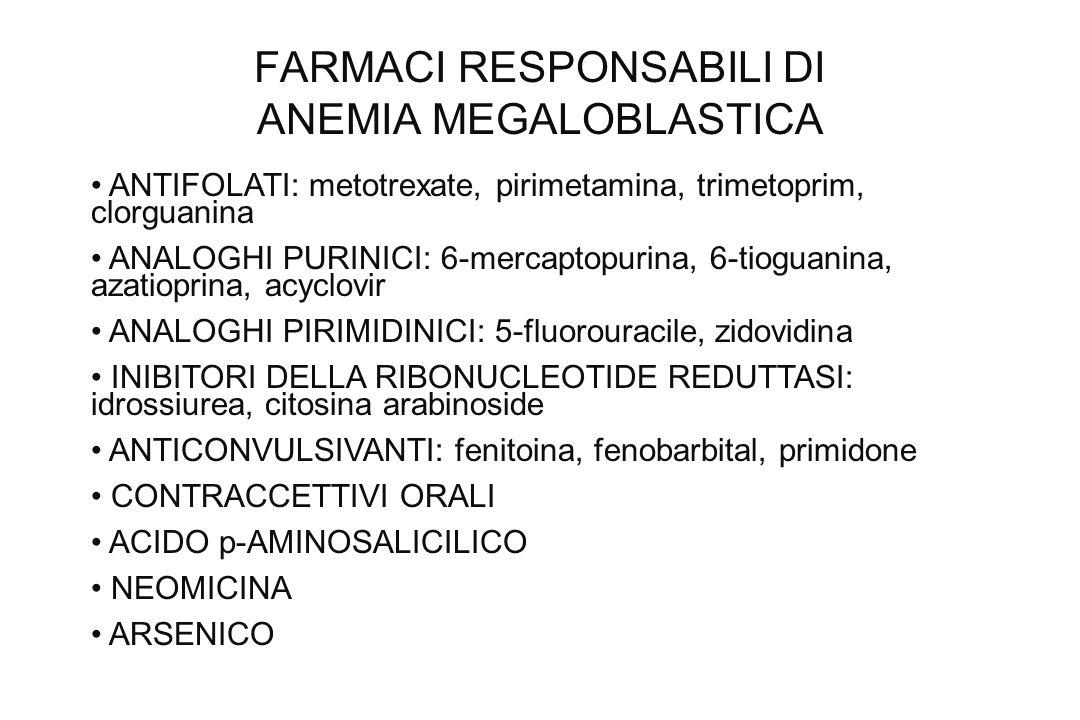 FARMACI RESPONSABILI DI ANEMIA MEGALOBLASTICA ANTIFOLATI: metotrexate, pirimetamina, trimetoprim, clorguanina ANALOGHI PURINICI: 6-mercaptopurina, 6-t