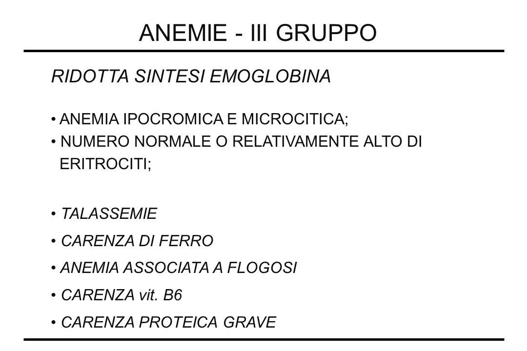 ANEMIE - III GRUPPO RIDOTTA SINTESI EMOGLOBINA ANEMIA IPOCROMICA E MICROCITICA; NUMERO NORMALE O RELATIVAMENTE ALTO DI ERITROCITI; TALASSEMIE CARENZA