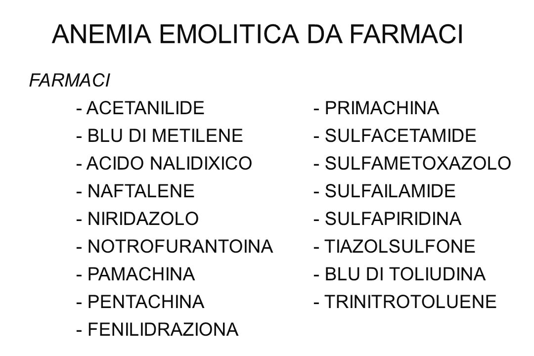 ANEMIA EMOLITICA DA FARMACI FARMACI - ACETANILIDE- PRIMACHINA - BLU DI METILENE- SULFACETAMIDE - ACIDO NALIDIXICO- SULFAMETOXAZOLO - NAFTALENE- SULFAI