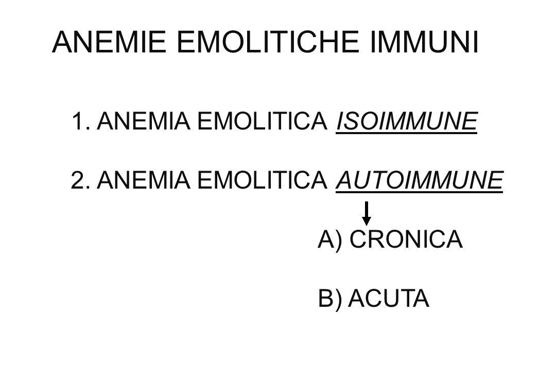 ANEMIE EMOLITICHE IMMUNI 1. ANEMIA EMOLITICA ISOIMMUNE 2. ANEMIA EMOLITICA AUTOIMMUNE A) CRONICA B) ACUTA