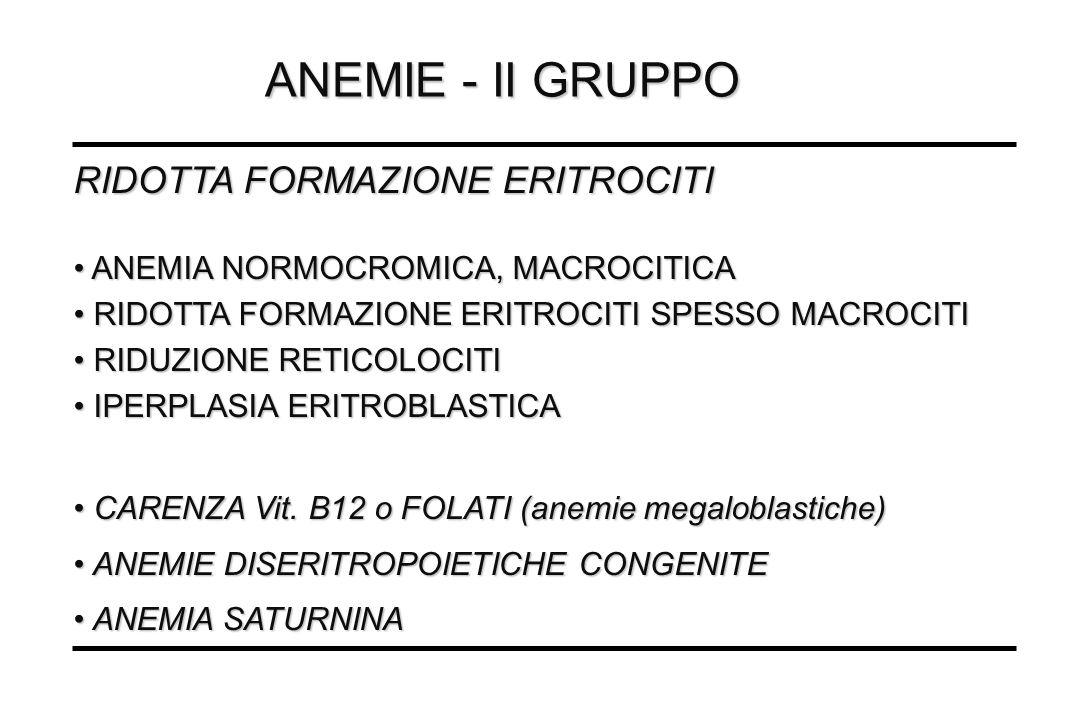 ANEMIE - II GRUPPO RIDOTTA FORMAZIONE ERITROCITI ANEMIA NORMOCROMICA, MACROCITICA ANEMIA NORMOCROMICA, MACROCITICA RIDOTTA FORMAZIONE ERITROCITI SPESS