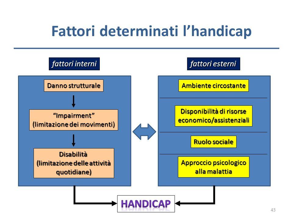 Fattori determinati lhandicap Danno strutturale Impairment (limitazione dei movimenti) Disabilità (limitazione delle attività quotidiane) fattori inte