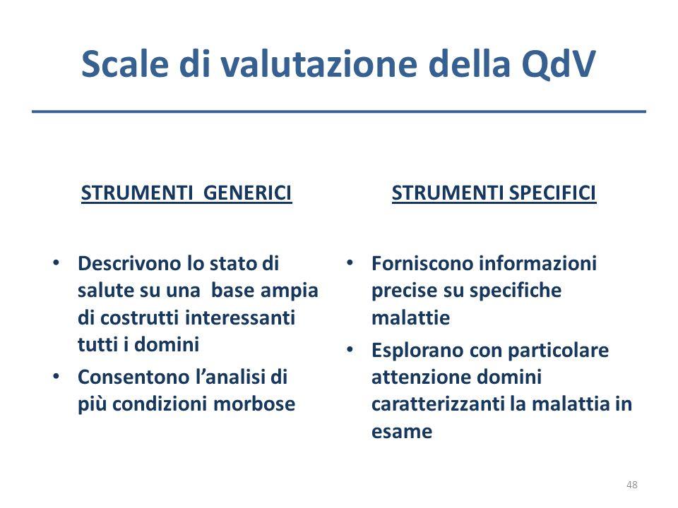 Scale di valutazione della QdV STRUMENTI GENERICI Descrivono lo stato di salute su una base ampia di costrutti interessanti tutti i domini Consentono