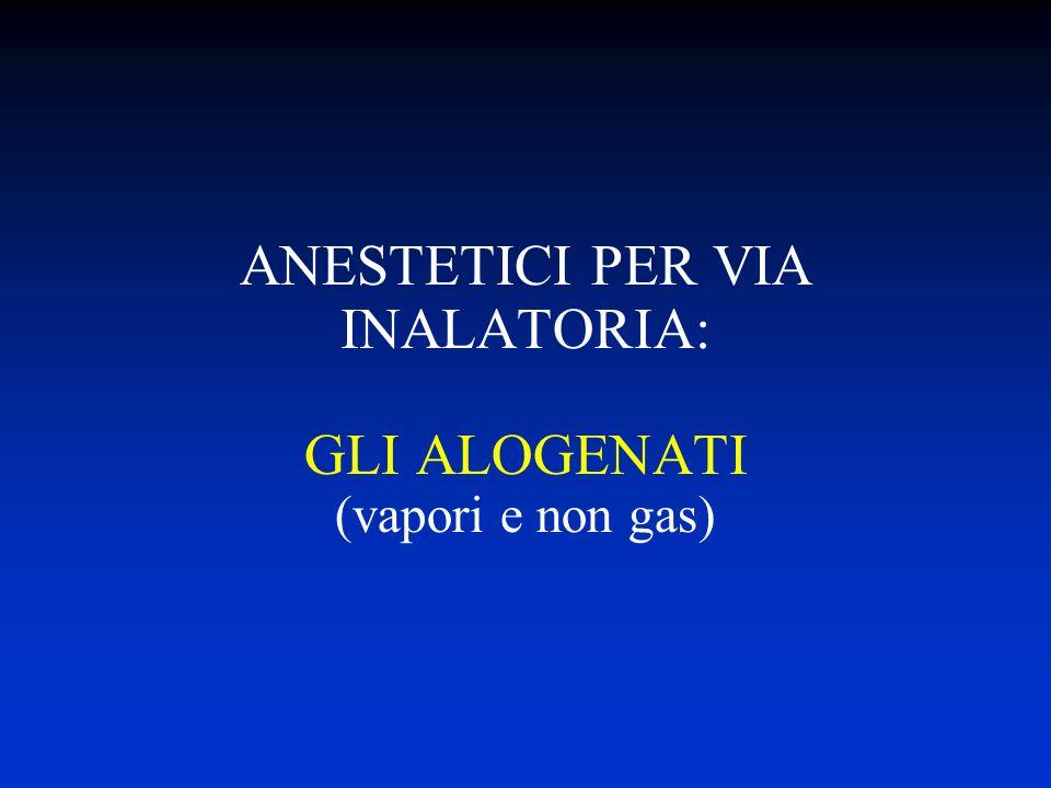 ANESTETICI PER VIA INALATORIA: GLI ALOGENATI (vapori e non gas)