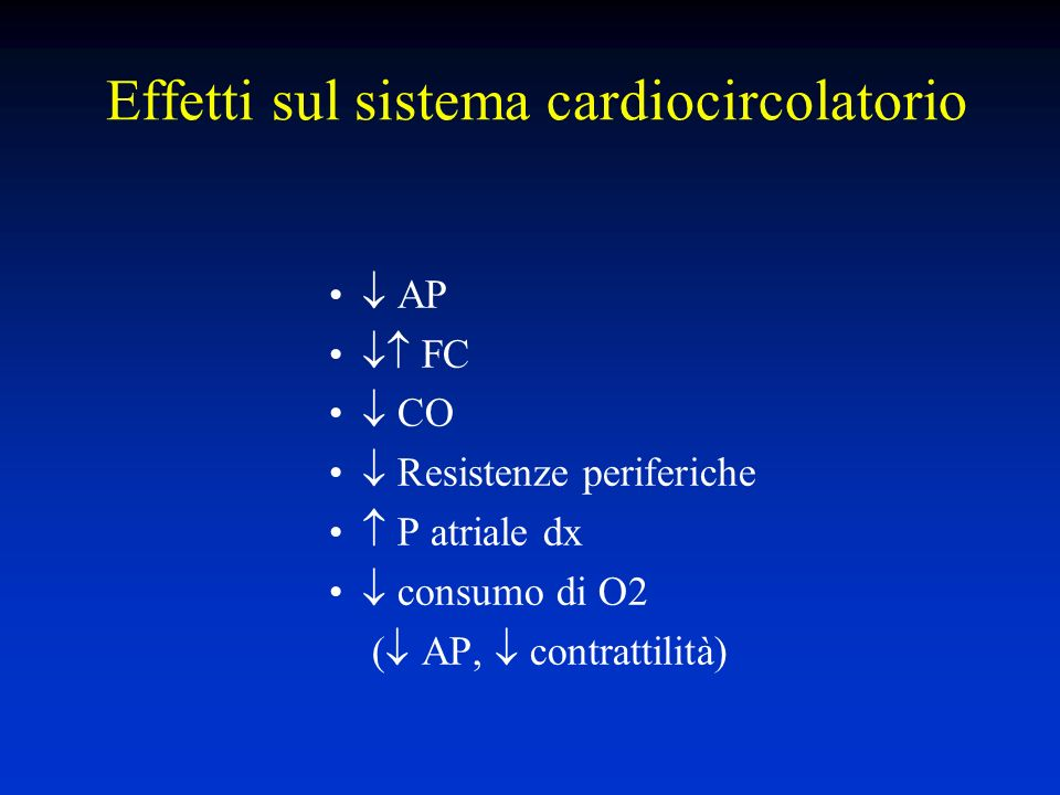 Effetti sul sistema cardiocircolatorio AP FC CO Resistenze periferiche P atriale dx consumo di O2 ( AP, contrattilità)