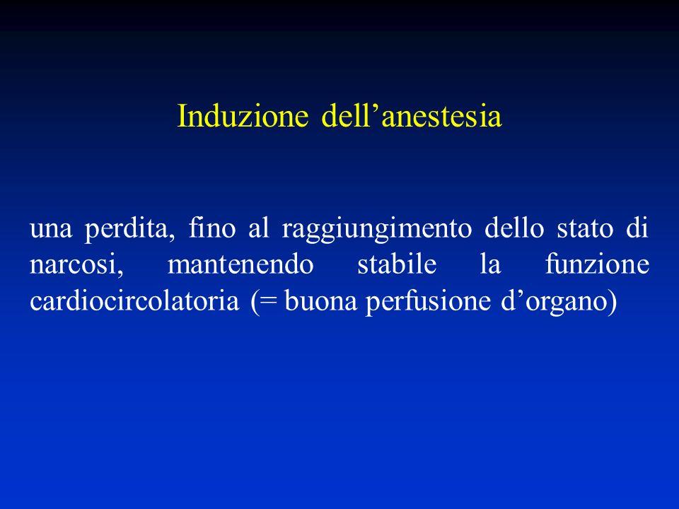 Induzione dellanestesia una perdita, fino al raggiungimento dello stato di narcosi, mantenendo stabile la funzione cardiocircolatoria (= buona perfusione dorgano)