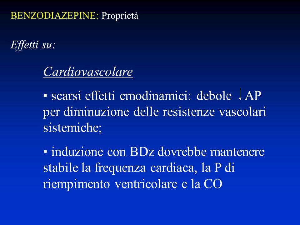 Cardiovascolare scarsi effetti emodinamici: debole AP per diminuzione delle resistenze vascolari sistemiche; induzione con BDz dovrebbe mantenere stabile la frequenza cardiaca, la P di riempimento ventricolare e la CO Effetti su: BENZODIAZEPINE: Proprietà
