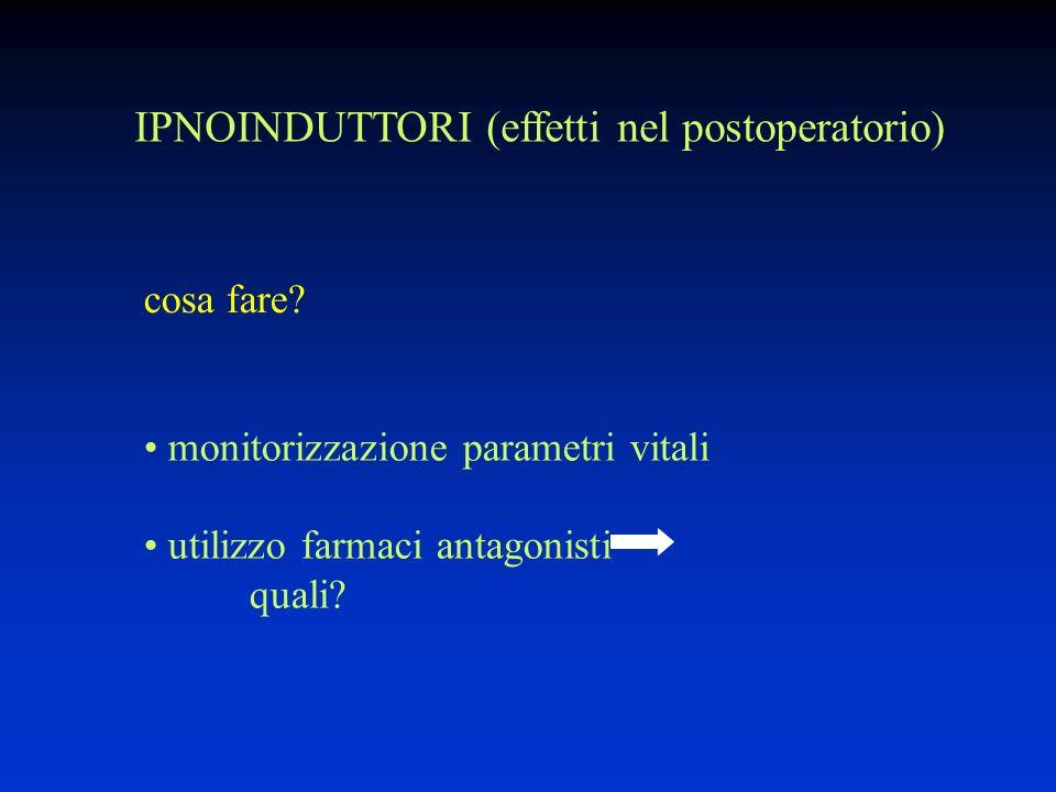 IPNOINDUTTORI (effetti nel postoperatorio) monitorizzazione parametri vitali utilizzo farmaci antagonisti quali.