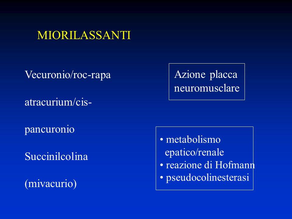 MIORILASSANTI Vecuronio/roc-rapa atracurium/cis- pancuronio Succinilcolina (mivacurio) Azione placca neuromusclare metabolismo epatico/renale reazione di Hofmann pseudocolinesterasi