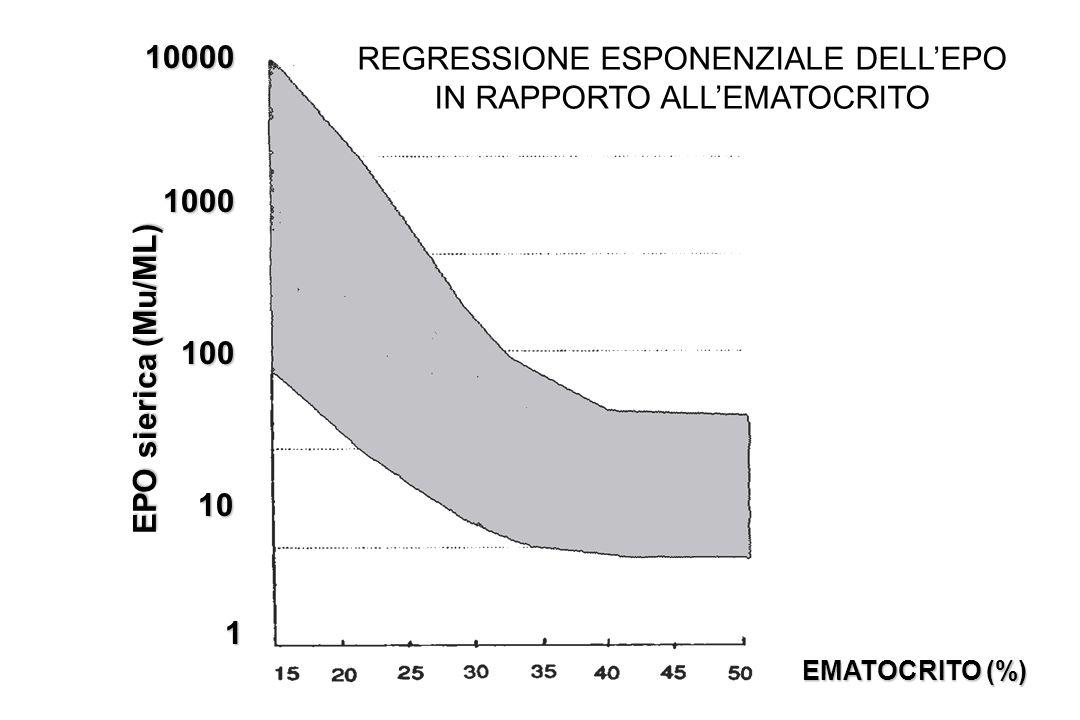 EMATOCRITO (%) EPO sierica (Mu/ML) 10000 1000 1000 100 100 10 10 1 REGRESSIONE ESPONENZIALE DELLEPO IN RAPPORTO ALLEMATOCRITO