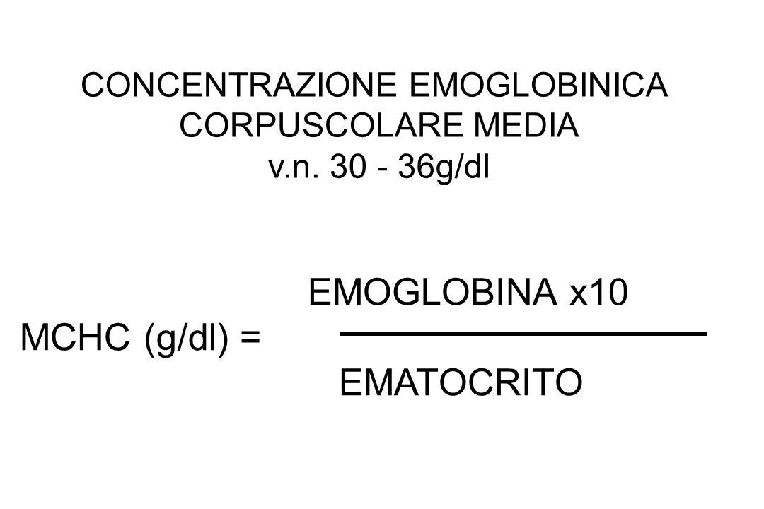 EMOGLOBINA x10 MCHC (g/dl) = EMATOCRITO CONCENTRAZIONE EMOGLOBINICA CORPUSCOLARE MEDIA v.n. 30 - 36g/dl