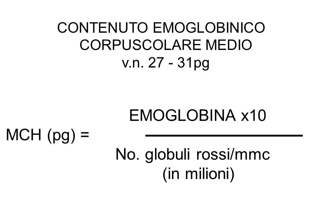 EMOGLOBINA x10 MCH (pg) = No. globuli rossi/mmc (in milioni) CONTENUTO EMOGLOBINICO CORPUSCOLARE MEDIO v.n. 27 - 31pg
