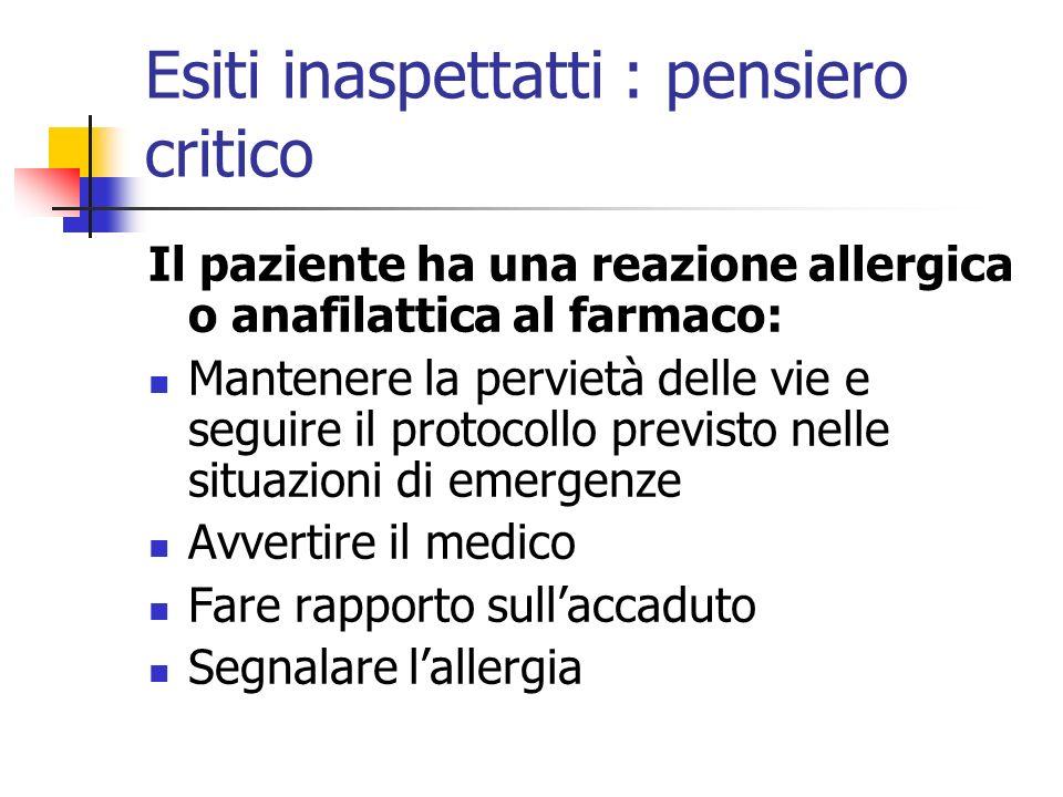 Esiti inaspettatti : pensiero critico Il paziente ha una reazione allergica o anafilattica al farmaco: Mantenere la pervietà delle vie e seguire il pr