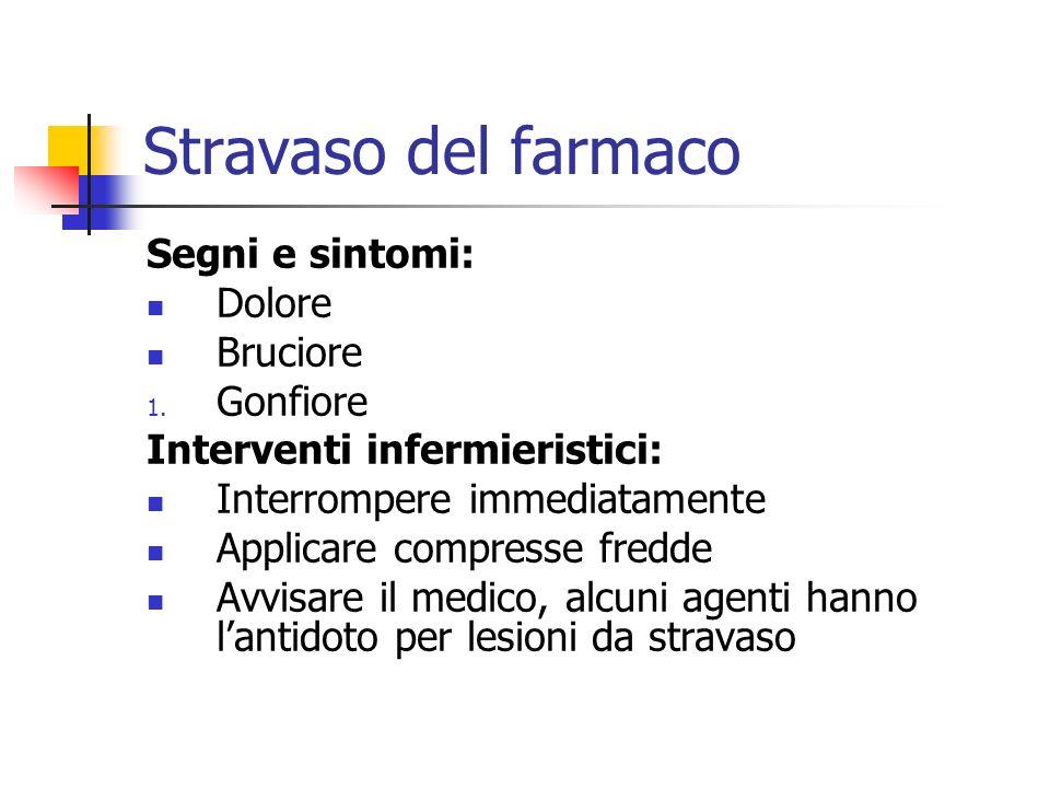 Stravaso del farmaco Segni e sintomi: Dolore Bruciore 1. Gonfiore Interventi infermieristici: Interrompere immediatamente Applicare compresse fredde A