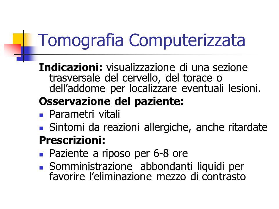 Tomografia Computerizzata Indicazioni: visualizzazione di una sezione trasversale del cervello, del torace o delladdome per localizzare eventuali lesi