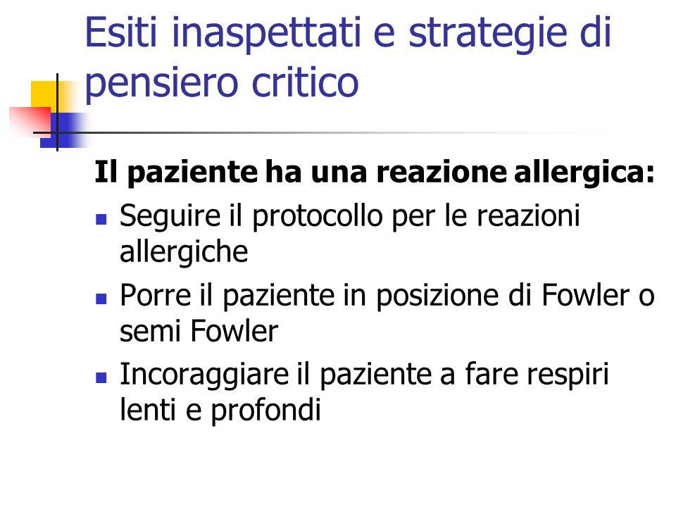 Esiti inaspettati e strategie di pensiero critico Il paziente ha una reazione allergica: Seguire il protocollo per le reazioni allergiche Porre il paz