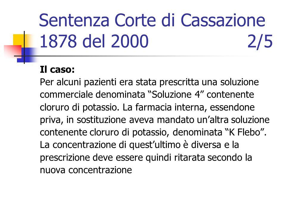 Sentenza Corte di Cassazione 1878 del 2000 2/5 Il caso: Per alcuni pazienti era stata prescritta una soluzione commerciale denominata Soluzione 4 cont