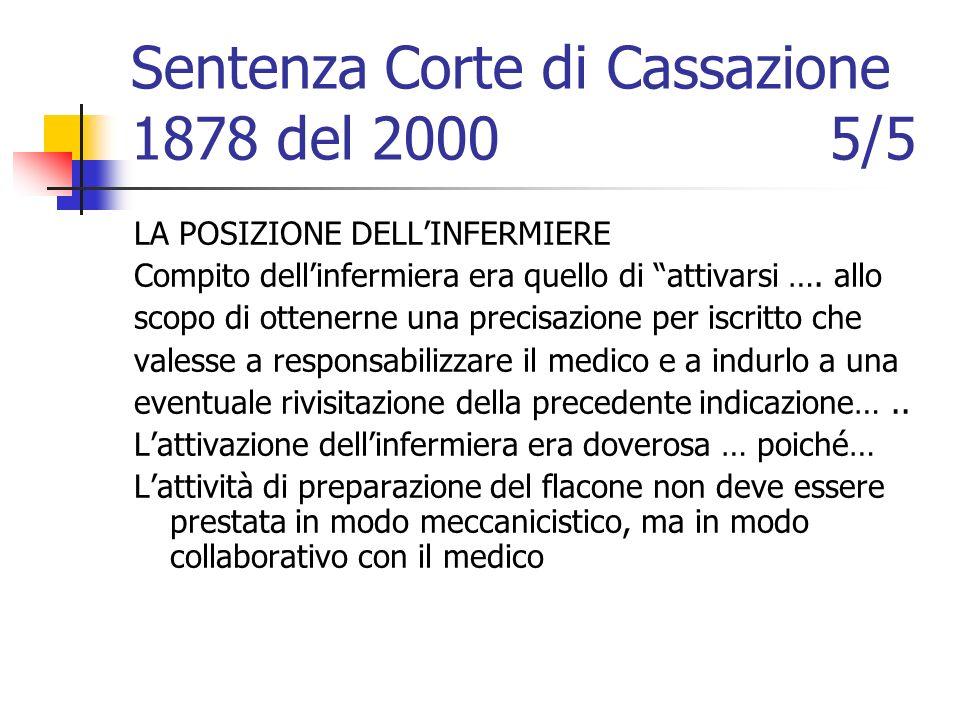 Sentenza Corte di Cassazione 1878 del 2000 5/5 LA POSIZIONE DELLINFERMIERE Compito dellinfermiera era quello di attivarsi …. allo scopo di ottenerne u