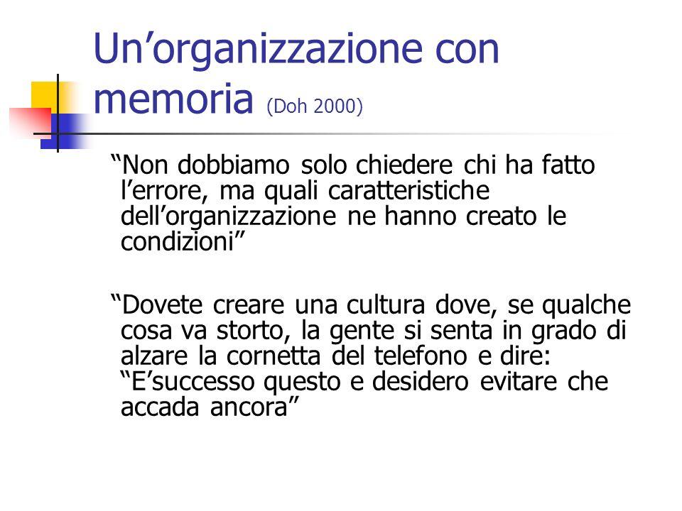 Unorganizzazione con memoria (Doh 2000) Non dobbiamo solo chiedere chi ha fatto lerrore, ma quali caratteristiche dellorganizzazione ne hanno creato l
