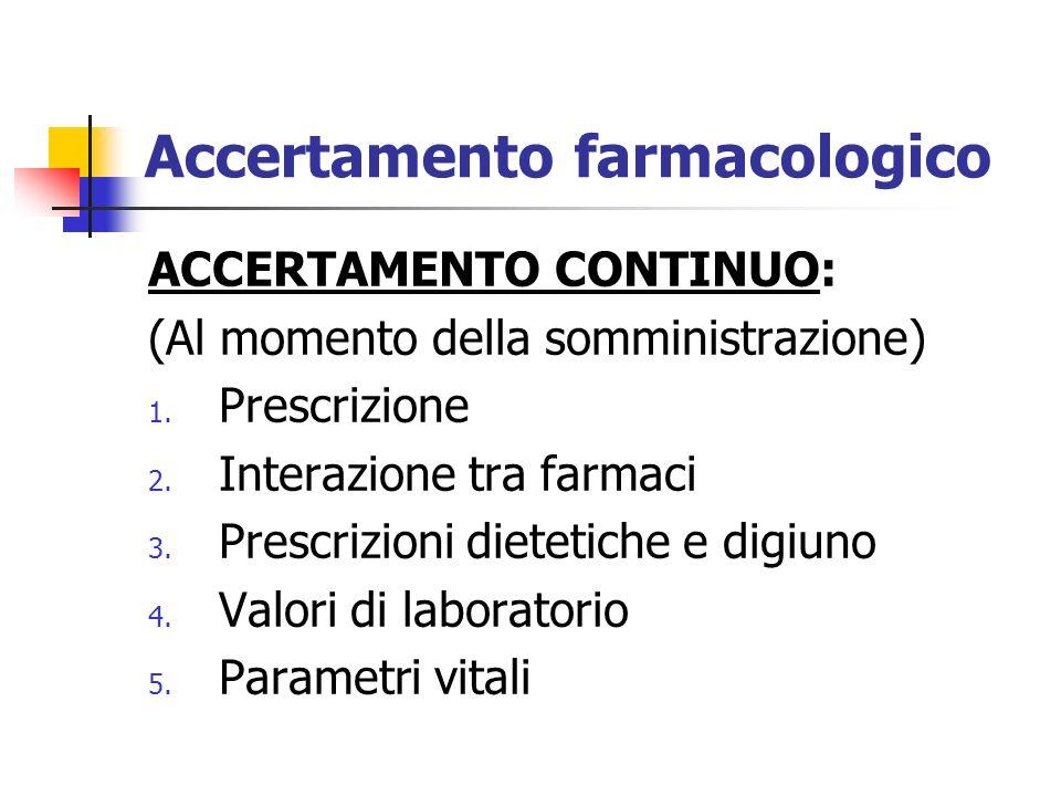Accertamento farmacologico ACCERTAMENTO CONTINUO: (Al momento della somministrazione) 1. Prescrizione 2. Interazione tra farmaci 3. Prescrizioni diete