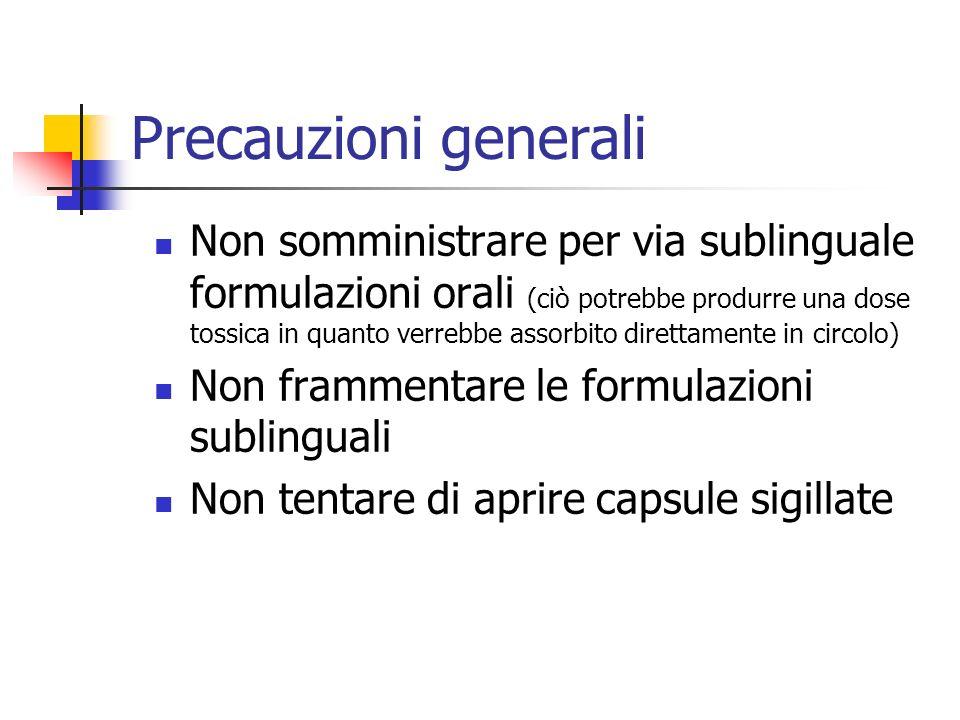 Precauzioni generali Non somministrare per via sublinguale formulazioni orali (ciò potrebbe produrre una dose tossica in quanto verrebbe assorbito dir