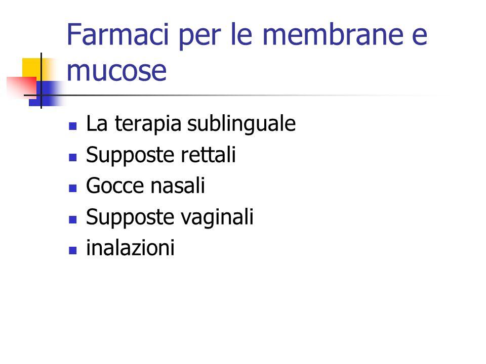 Farmaci per le membrane e mucose La terapia sublinguale Supposte rettali Gocce nasali Supposte vaginali inalazioni