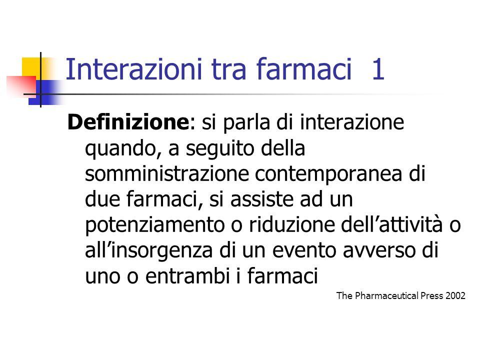 Interazioni tra farmaci 1 Definizione: si parla di interazione quando, a seguito della somministrazione contemporanea di due farmaci, si assiste ad un