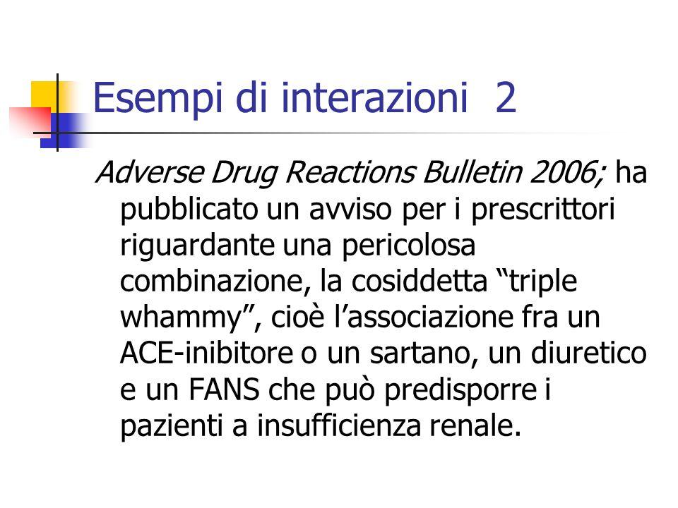 Esempi di interazioni 2 Adverse Drug Reactions Bulletin 2006; ha pubblicato un avviso per i prescrittori riguardante una pericolosa combinazione, la c