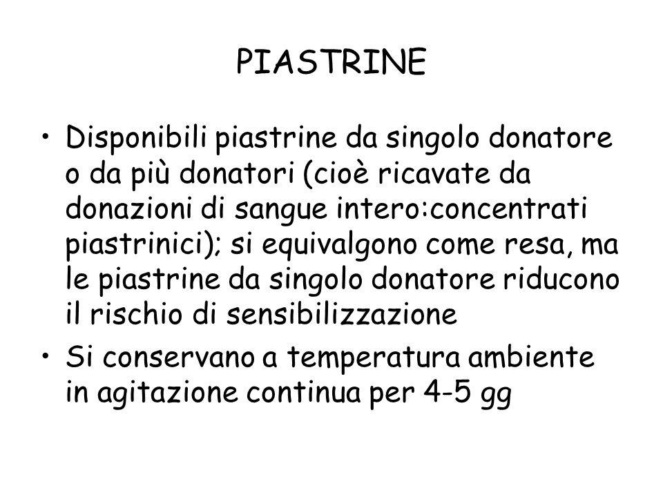 PIASTRINE Disponibili piastrine da singolo donatore o da più donatori (cioè ricavate da donazioni di sangue intero:concentrati piastrinici); si equiva