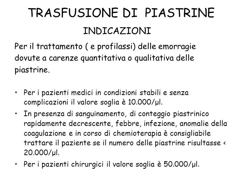 TRASFUSIONE DI PIASTRINE Per il trattamento ( e profilassi) delle emorragie dovute a carenze quantitativa o qualitativa delle piastrine. Per i pazient