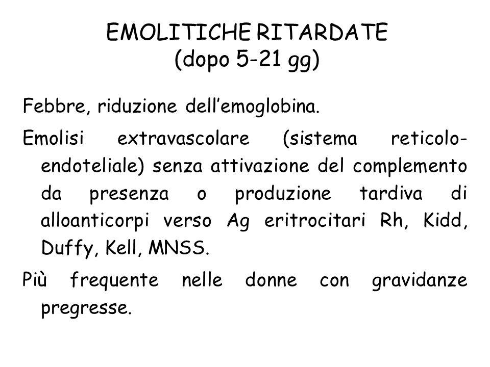 EMOLITICHE RITARDATE (dopo 5-21 gg) Febbre, riduzione dellemoglobina. Emolisi extravascolare (sistema reticolo- endoteliale) senza attivazione del com