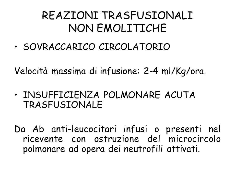 SOVRACCARICO CIRCOLATORIO Velocità massima di infusione: 2-4 ml/Kg/ora. INSUFFICIENZA POLMONARE ACUTA TRASFUSIONALE Da Ab anti-leucocitari infusi o pr