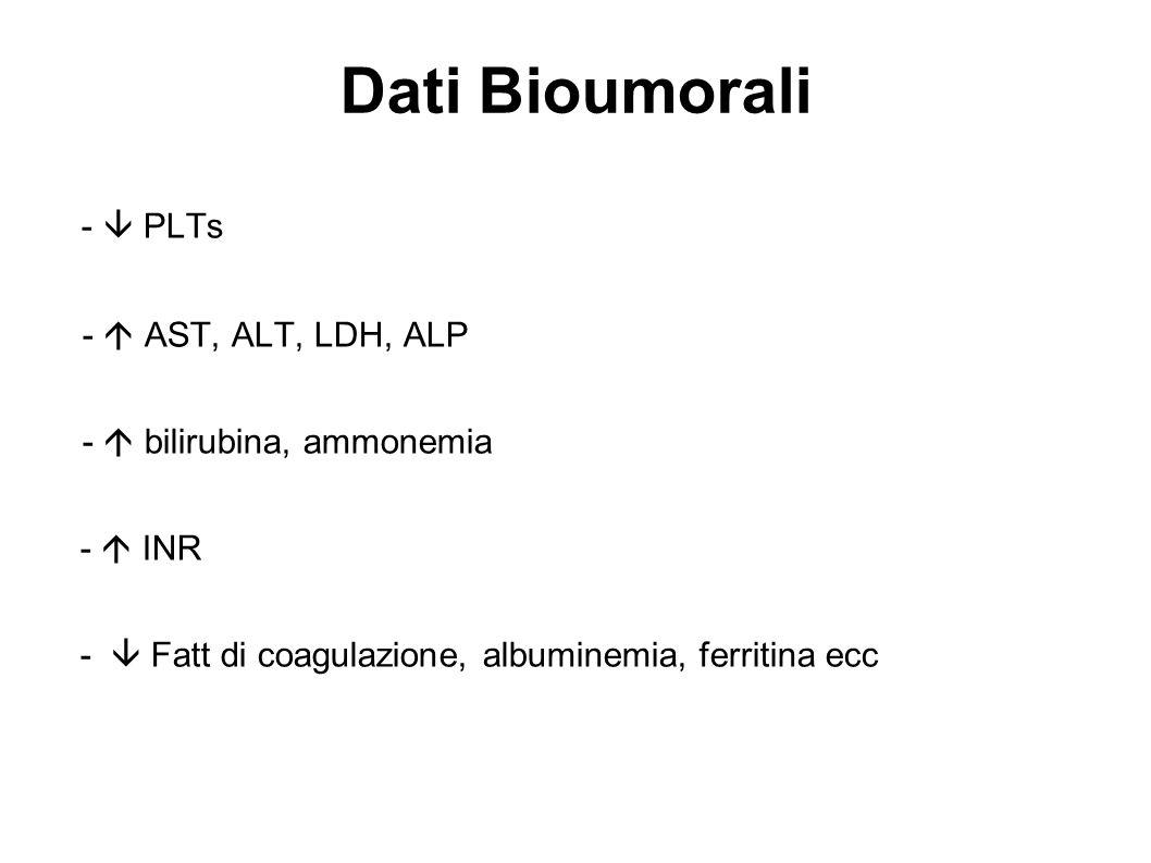 Dati Bioumorali - PLTs - AST, ALT, LDH, ALP - bilirubina, ammonemia - INR - Fatt di coagulazione, albuminemia, ferritina ecc