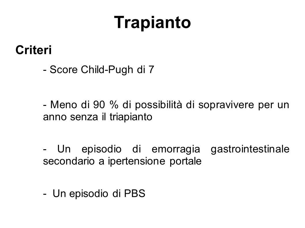 Criteri - Score Child-Pugh di 7 - Meno di 90 % di possibilità di sopravivere per un anno senza il triapianto - Un episodio di emorragia gastrointestin