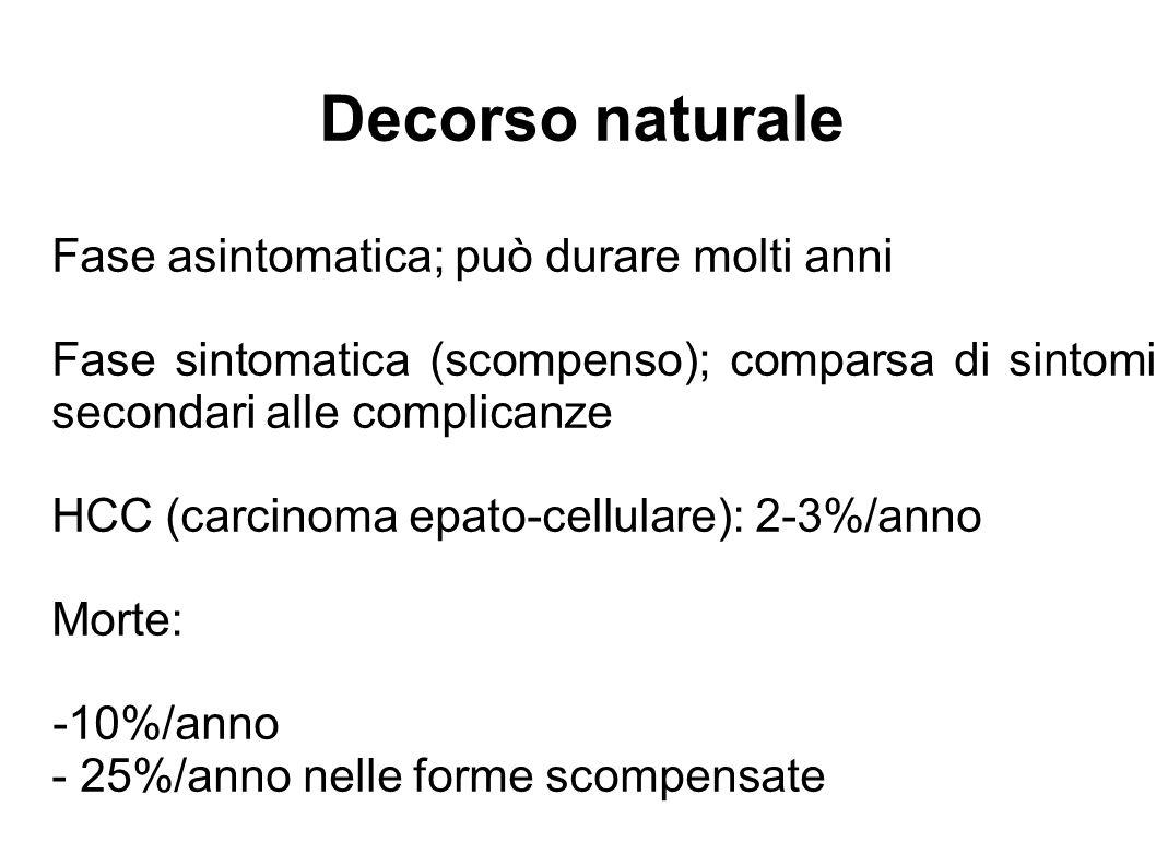 Decorso naturale Fase asintomatica; può durare molti anni Fase sintomatica (scompenso); comparsa di sintomi secondari alle complicanze HCC (carcinoma