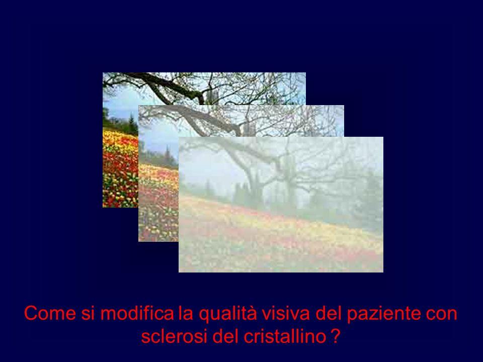 Come si modifica la qualità visiva del paziente con sclerosi del cristallino ?