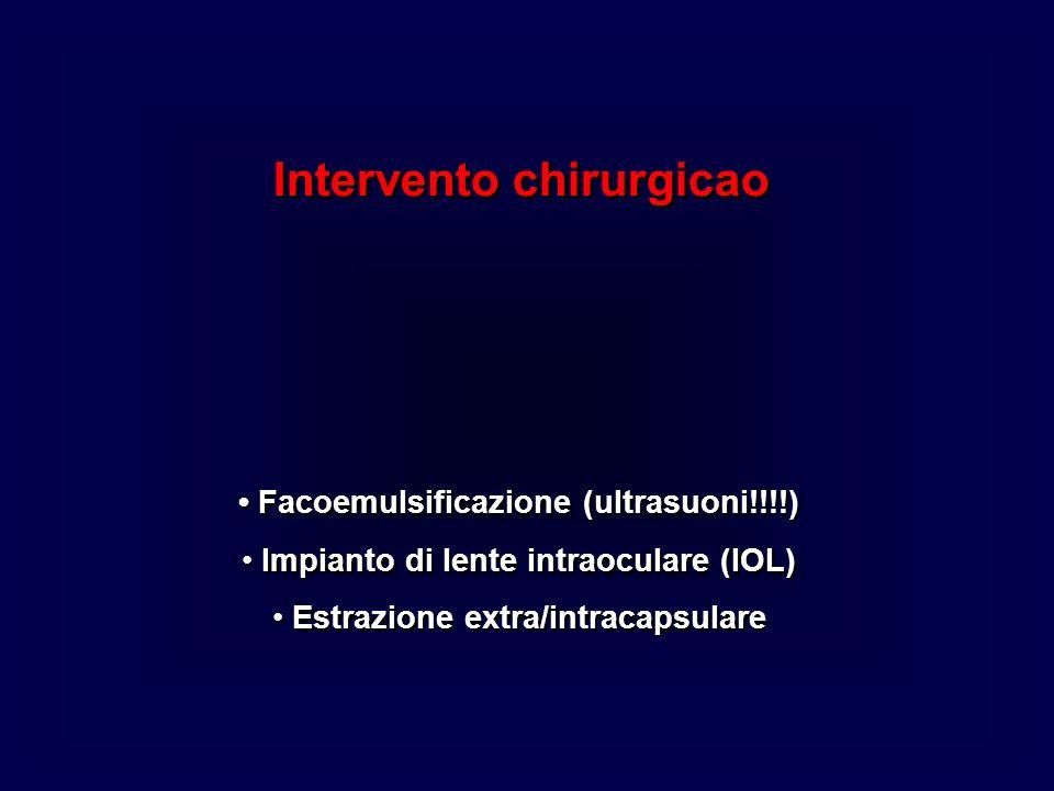 Intervento chirurgicao Facoemulsificazione (ultrasuoni!!!!) Impianto di lente intraoculare (IOL) Estrazione extra/intracapsulare Intervento chirurgica
