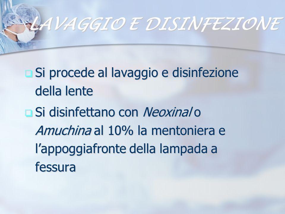 LAVAGGIO E DISINFEZIONE Si procede al lavaggio e disinfezione della lente Si procede al lavaggio e disinfezione della lente Si disinfettano con Neoxin