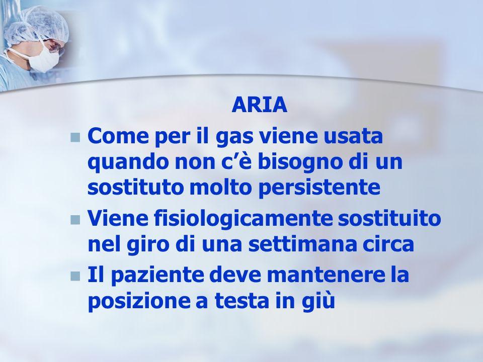 ARIA Come per il gas viene usata quando non cè bisogno di un sostituto molto persistente Viene fisiologicamente sostituito nel giro di una settimana c
