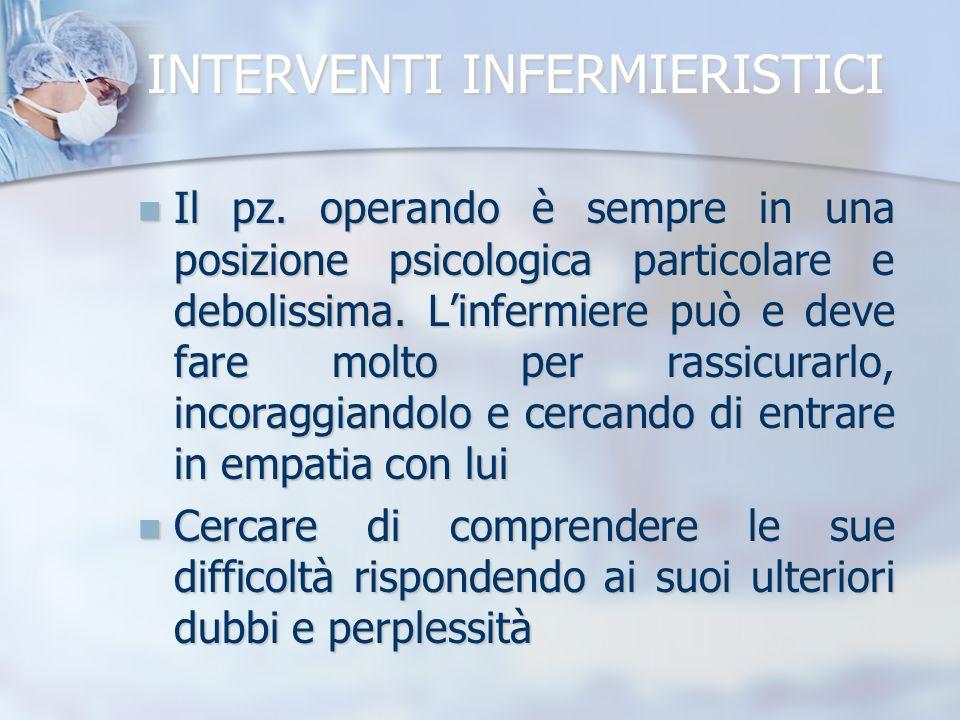 INTERVENTI INFERMIERISTICI Il pz. operando è sempre in una posizione psicologica particolare e debolissima. Linfermiere può e deve fare molto per rass