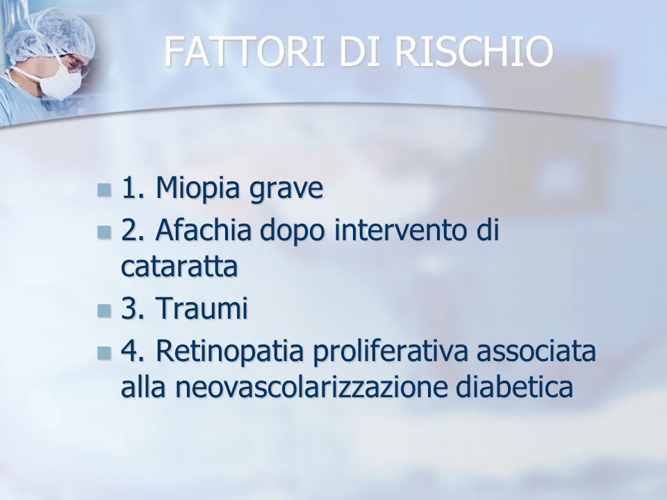 FATTORI DI RISCHIO 1. Miopia grave 1. Miopia grave 2. Afachia dopo intervento di cataratta 2. Afachia dopo intervento di cataratta 3. Traumi 3. Traumi